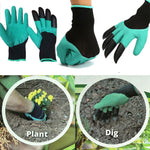 New Rubber+Polyester Gardening Gloves 4 ABS 2 Plastic Claws Safety Work Gloves Builders Grip Gardening Dig Planting Gloves