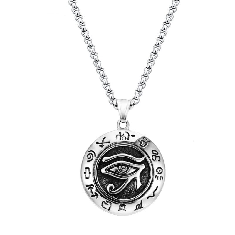 Stainless Steel Vintage Horus Egyptian Sun Eye Symbol Pendant Necklace