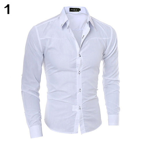 Men Fashion Dark Striped Business Slim Fit Long Sleeve Casual Dress Shirt