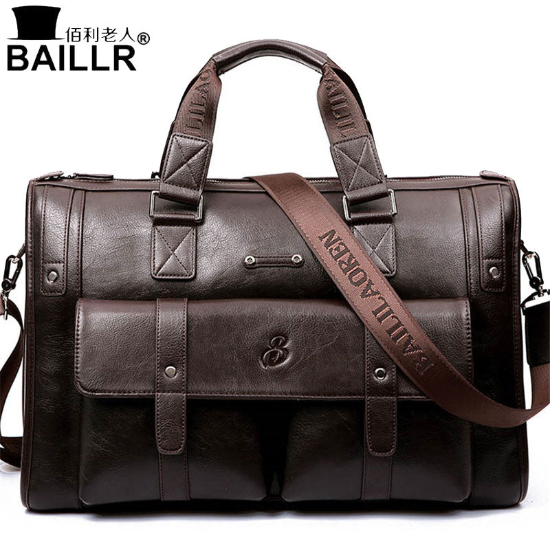 BAILLR Brand Man Bag Leather Black Briefcase Men Business Handbag Messenger Bags Male Vintage Men's Shoulder Bag Large Capacity