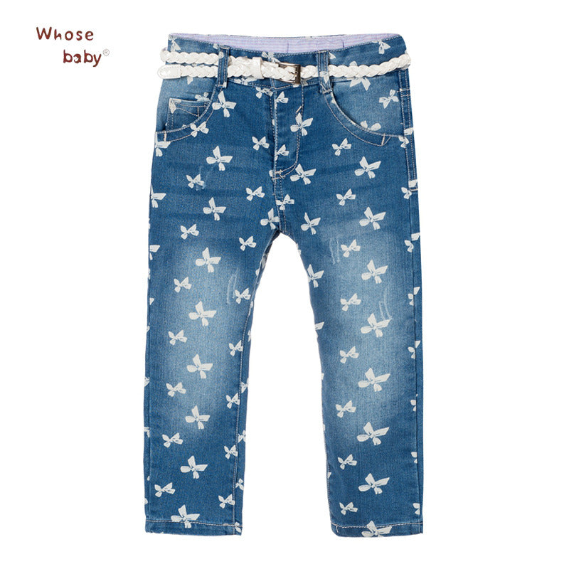 Girls Jeans Butterfly Print Soft Denim Cotton Pants For Girl Trousers Children Clothing Infant Autumn Pant Girls Jeans