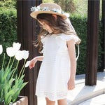 New Japan & Korea Style Fly Sleeve Little Child Girls Clothing Comfortable Kids White/pink Dress Knitting Simply Pretty Dress