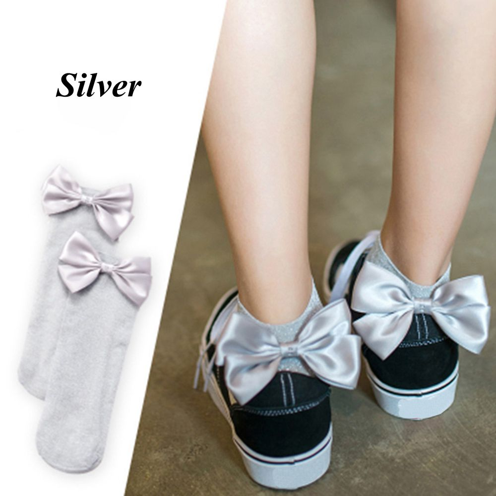 1 Pair: Ladies Casual Soft Mesh Knitted Bowknot Low Cut Ankle Socks
