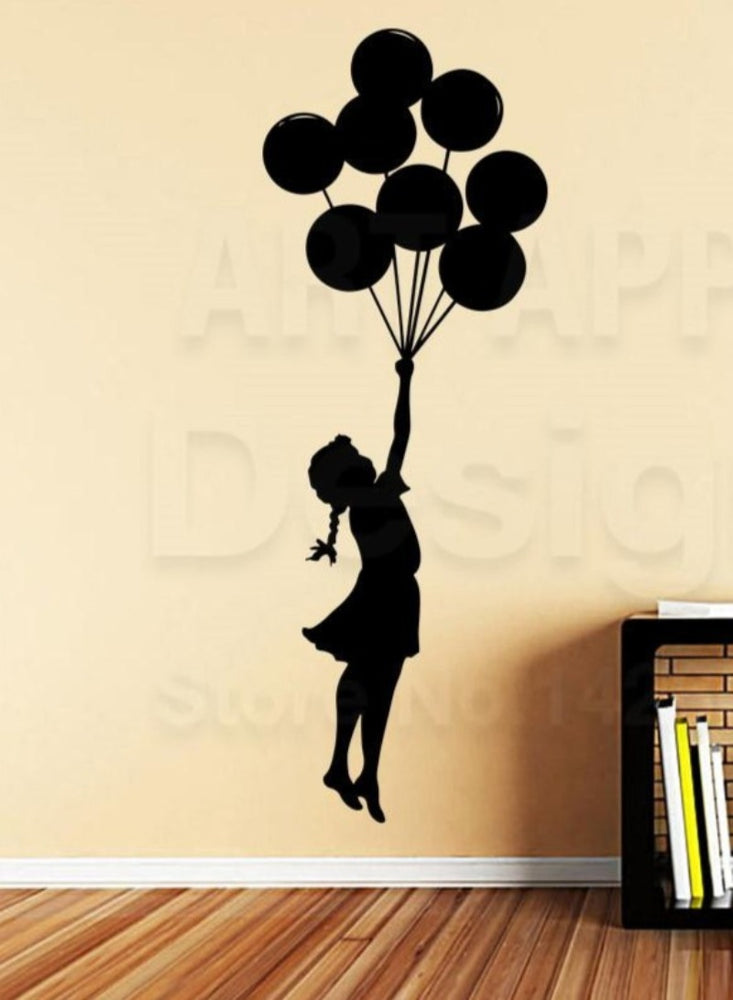 Good quality Banksy New art design girl with balloons home decoration vinyl wall Sticker Removable house decor Graffiti decals