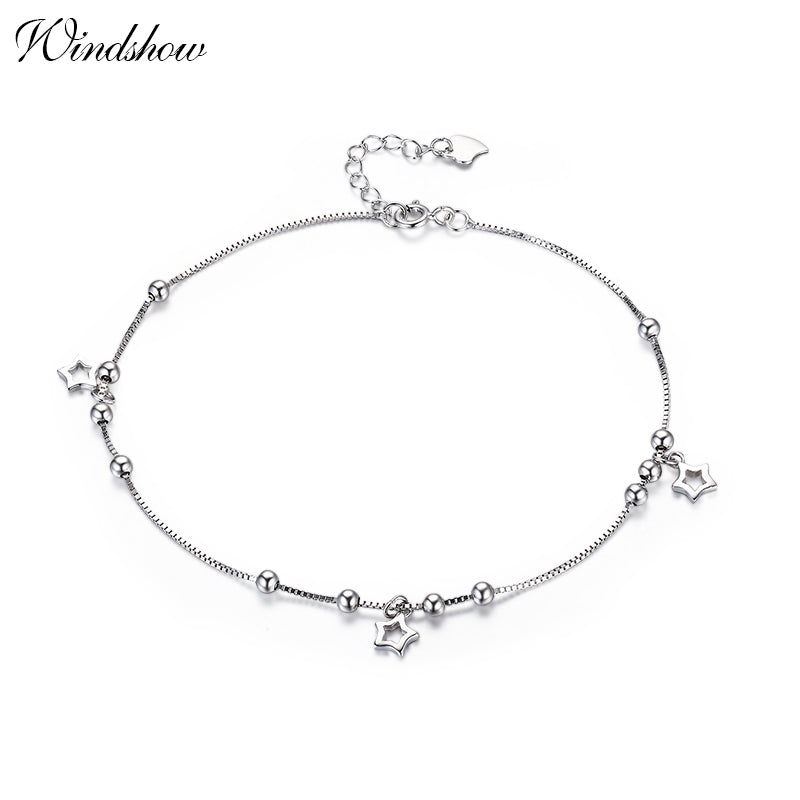 925 Sterling SIlver Box Chain Star Charm Foot Jewelry Anklet for Women Girls Leg bracelet cheville enkelbandje halhal tobillera