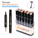 Soft Brush Alcohol Based Professional Sketch Marker Pens - 12 Colors