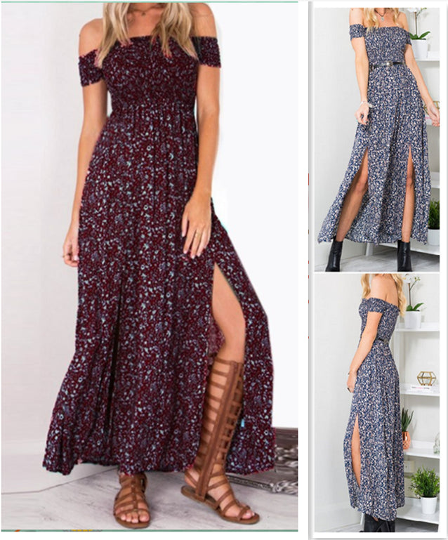Strapless Beach Summer Dress Sundresses Vintage Bohemian Maxi Dress Robe Femme Boho Floral Women Split Long Dresses Vestido