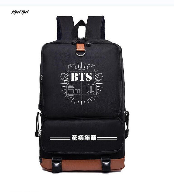 bts backpack bulletproof casual Korean Nylon Backpack School Students wind lovers bts wings posterbts lyrics