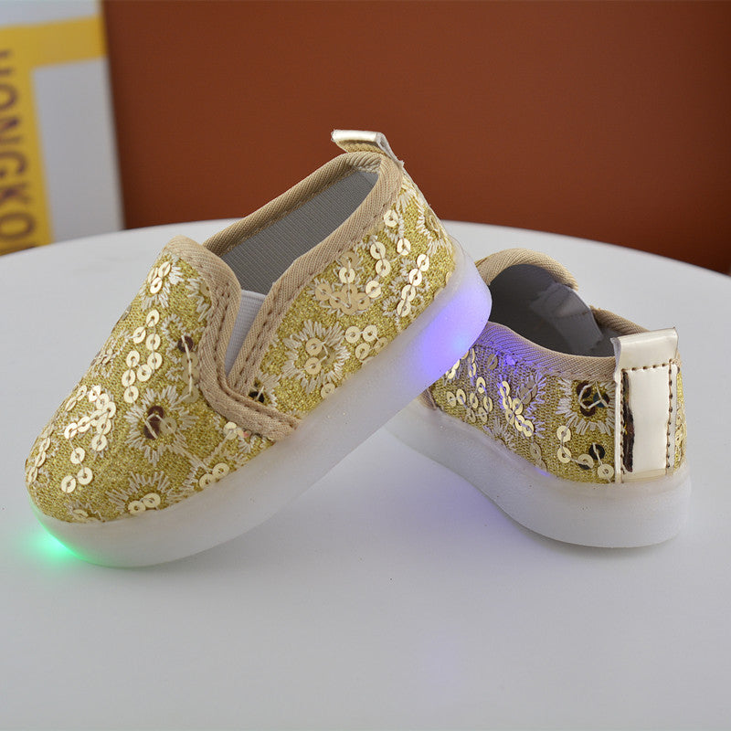 Children's Shoes In The Spring of New LED Lighting Shoes for Men and Women Casual Shoes and Children's Children Light Sequi