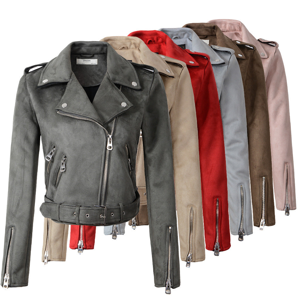 New Arrial Women Autumn Winter Suede Faux Leather Jackets Lady Fashion Matte Motorcycle Coat Biker Gray Pink Beige Outwear