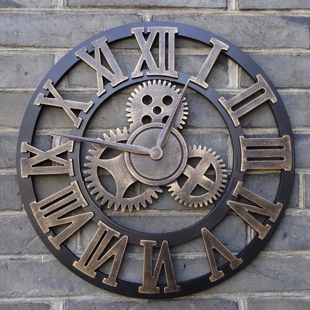 40cm/45cm Handmade 3D retro rustic decorative wall clock