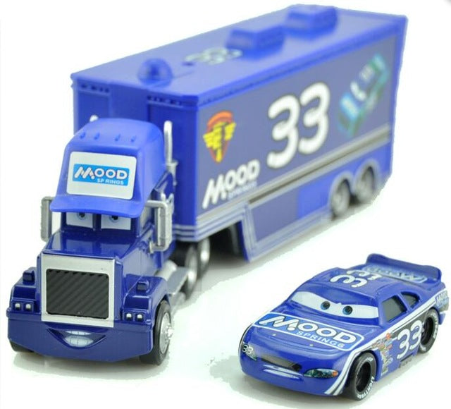 Disney Pixar Cars 2 Toys 2pcs Lightning McQueen City Construction Mack Truck The King 1:55 Diecast Metal Modle Figures For Kids
