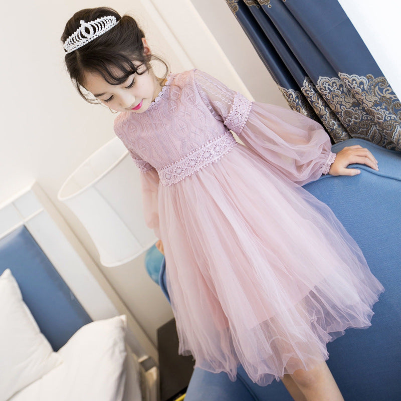 New Dresses For Girls Cute Lace Solid Long Lantern Sleeve Children Dress O-Neck Ball Grown Party Princess Baby Kids Clothes
