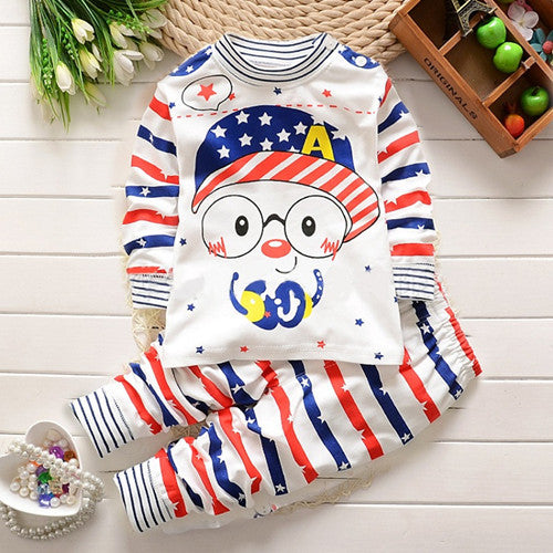 New Children spring clothing boys girls autumn clothes sets Bear captain children T-shirt+trousers baby wear