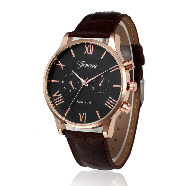 New Brand Gold Mens Watches Top Brand Luxury PU Leather Wristwatch Mens Gift Quartz Watch