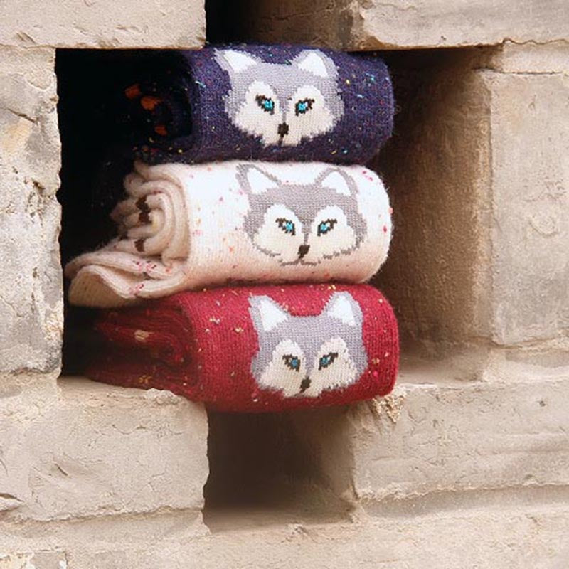 3 pairs Cute Animal Winter Wool Knitted Socks