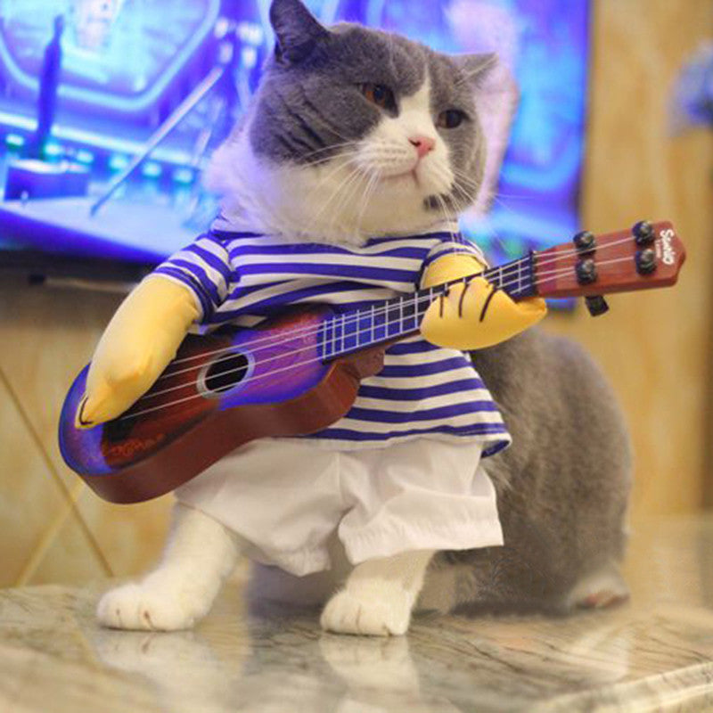 Funny Cat Clothes Costume T-shirt Guitar Rock Singer Cosplay Pets Dags Costume Pet Apparel Jacket Coat  Party Clothes For Cat