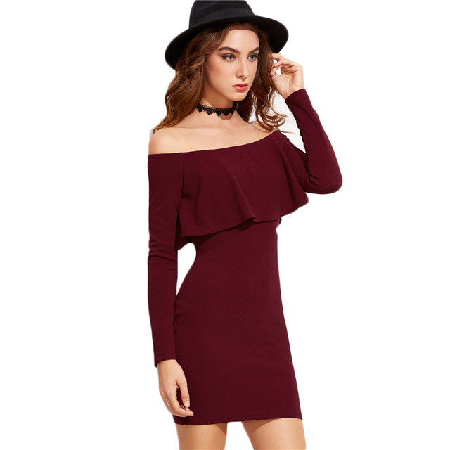 COLROVIE Long Sleeve Mini Dress Womens Autumn Winter Dresses Women   Party Burgundy Off Shoulder Ruffle Bodycon Dress