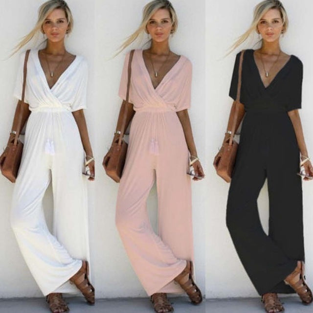 Women's Loose Short Sleeve Long V-Neck Romper
