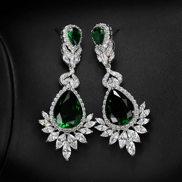 CWWZircons Elegent Evening Dinner Part Wedding Jewelry Luxury Long CZ Crystal Big Drop Dangle Earrings For Brides CZ055