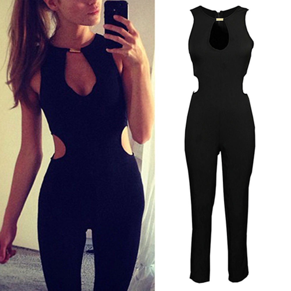 Fashion Style Sexy Sleeveless O-neck Backless Bodycon Romper Trousers Clubwear Jumpsuit Women Long Summer Clothes
