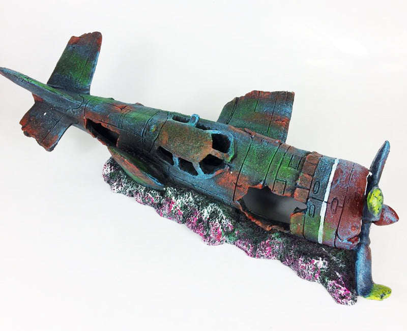 Resin Fish Tank Ornament Cave Aquarium Decoration Damaged Battleplane Fighter Plane