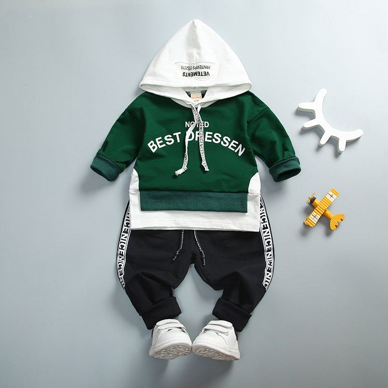 Baby Boy Girl Clothing Set High Qulity Cotton Kids Toddler Clothes Letter Hooded Suit For Boy Infant Long Sleeve 1-4Years Spring