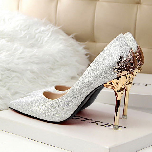 Champagne | Stiletto | Metallic | Party | Point | Women | Pump | Lady | Heel | High | Toe