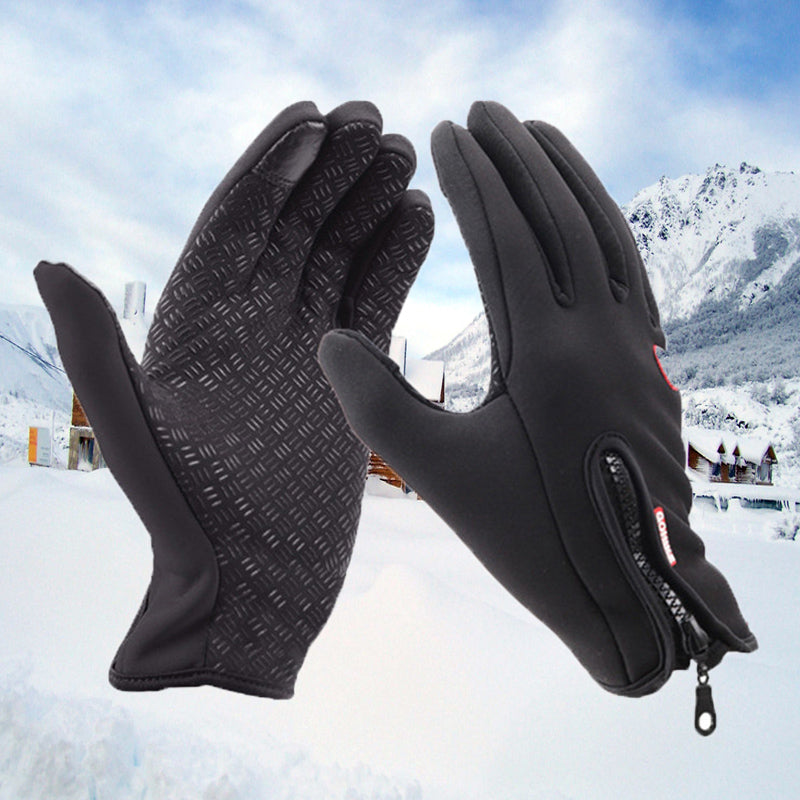 Unisex Fleece Lined Windproof Winter Touchscreen Zipper Gloves