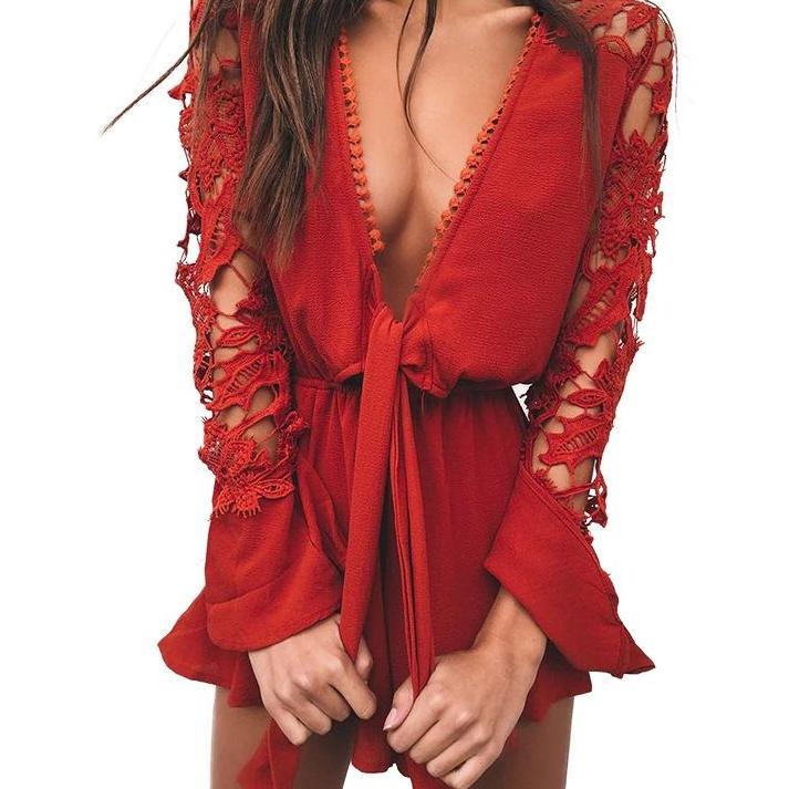 Women's Lace V-Neck Long Sleeve Romper