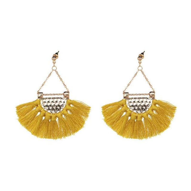 Fan shaped Cotton Tassels Bohemia Earrings For Women Ethnic Jewelry Big Dangle Earrings Handmade Fringe Pendientes