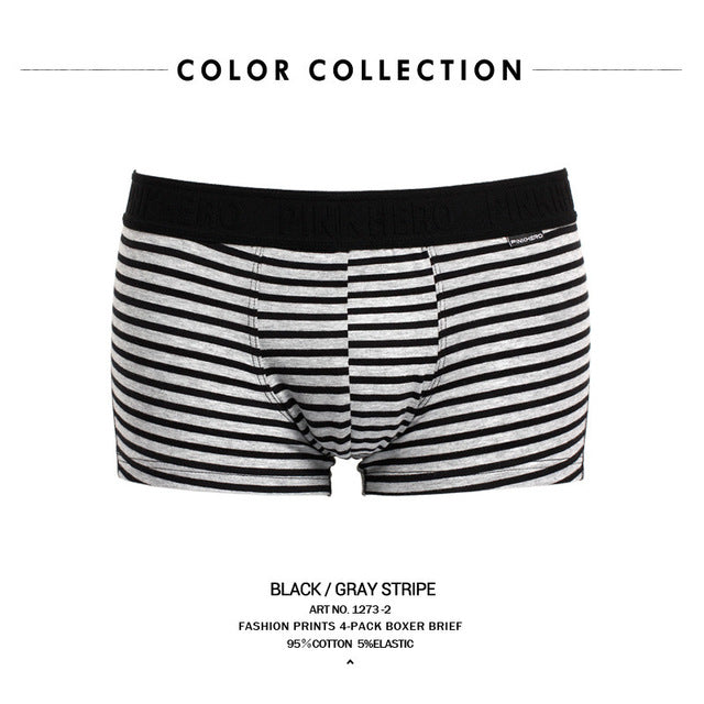 PINK HEROES Original Brand Male Pure Cotton Black And White Ash Series Man Straight Angle Underpants mens underwear boxers