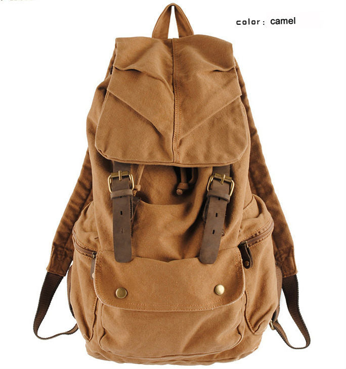 Fashion Vintage Leather military Canvas backpack Men's backpack school bag drawstring backpack women bagpack male rucksack