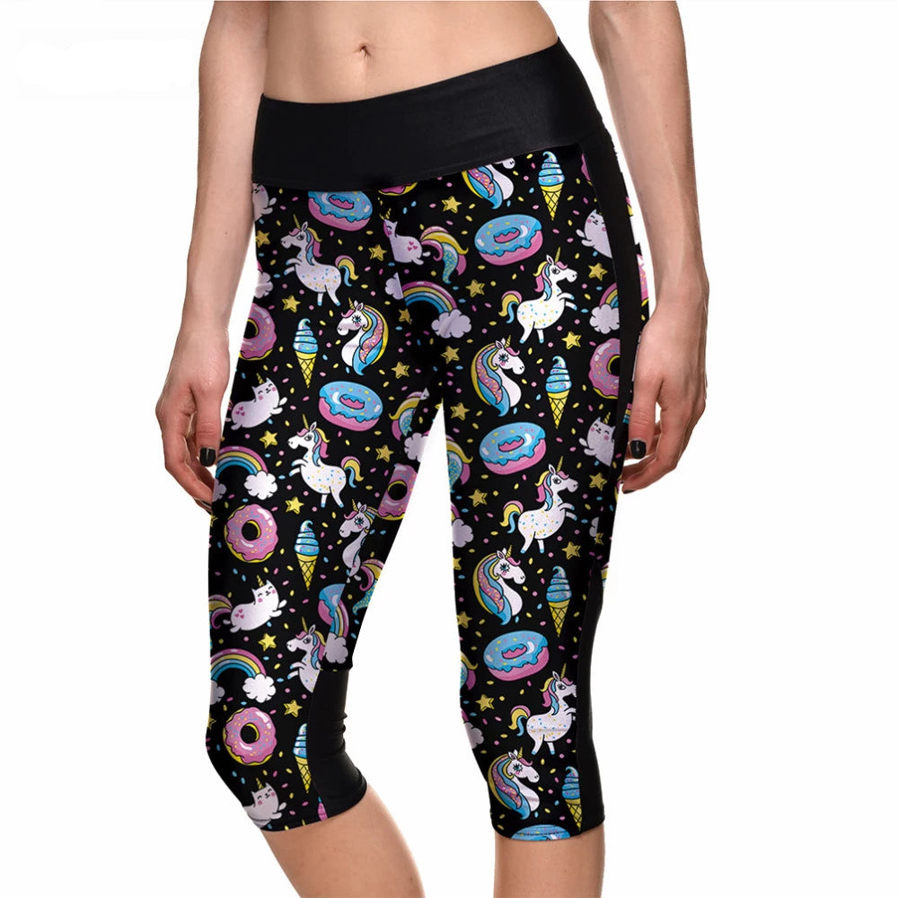 Qickitout Capril Pants Fitness Women's Rainbow Horse Donkey Ice Cream Capris Pants Leggings Breathable Quick Dry Trousers