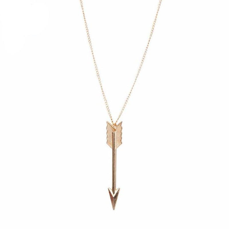 SUSENSTONE Women Fashion Jewelry Bronze Retro Arrow Head Pendant Long Chain Necklace Gift