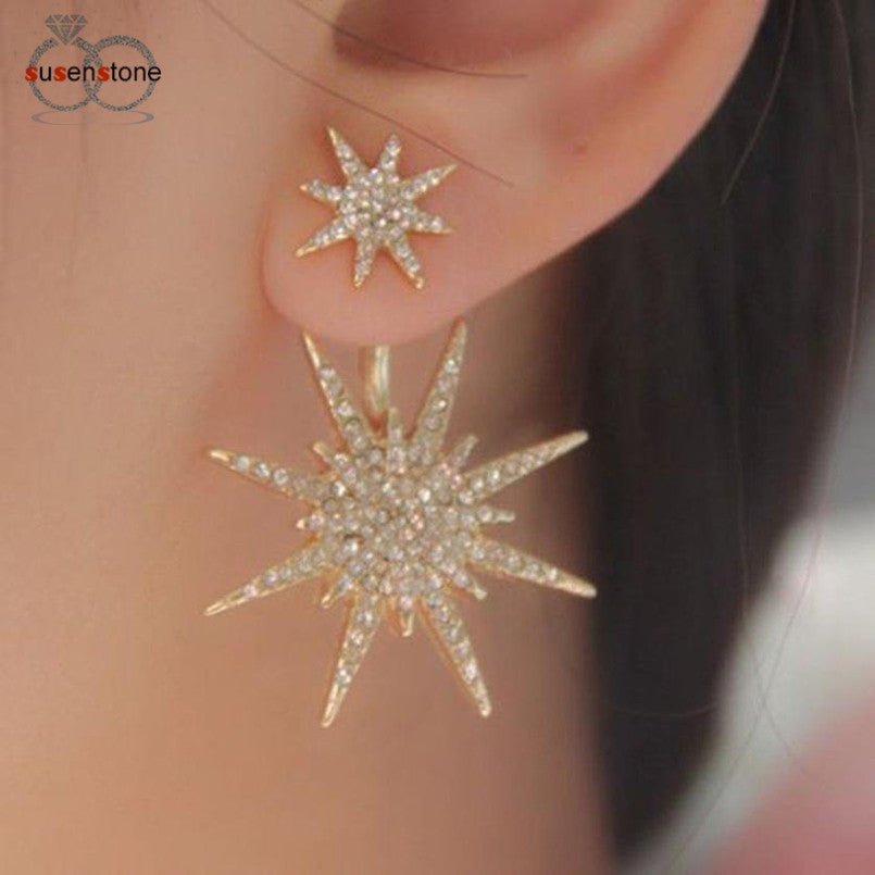 SUSENSTONE Crystal Rhinestone Lady Women 1 Pc Dangle Gold Earrings Star Ear Earring