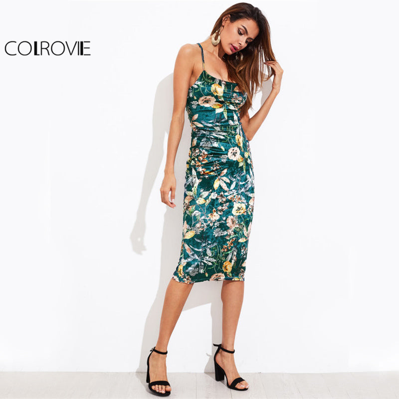 COLROVIE Lace Up Back Floral Velvet Dress Botanical Women   Cami Midi Summer Dresses Green Elegant Bodycon Party Dress