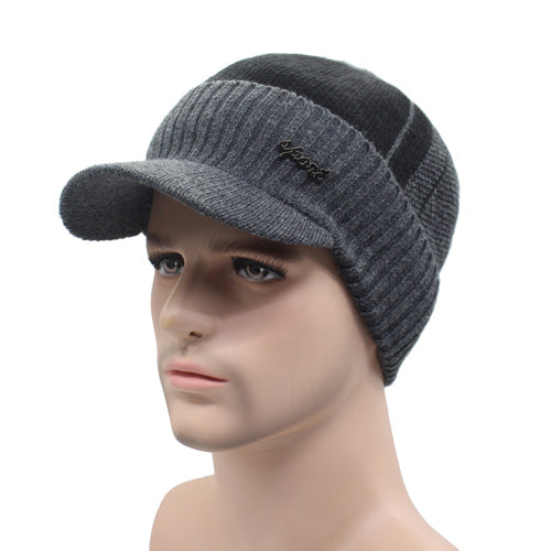 Winter Wool Knitted Hat with Brim (Option to Select Hat & Neck Warmer)