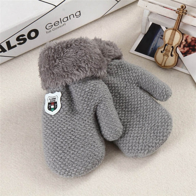 Children's Cotton Knitted Fur Cuffed Full Mittens