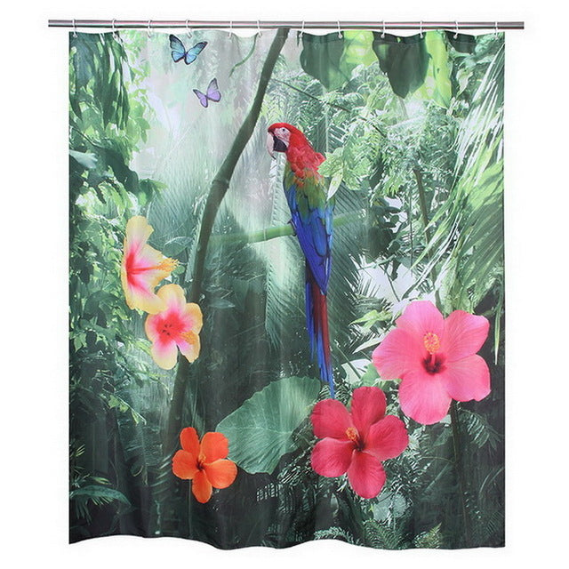 Fabric Polyester 3D Red Parrot Waterproof Shower Curtain Waterfall Bathroom 180x180cm