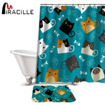 Miracille Cartoon Shower Curtain Set Cute Cat Printed Design Fabric Polyester Waterproof Home Bathroom Decor Curtains and Carpet