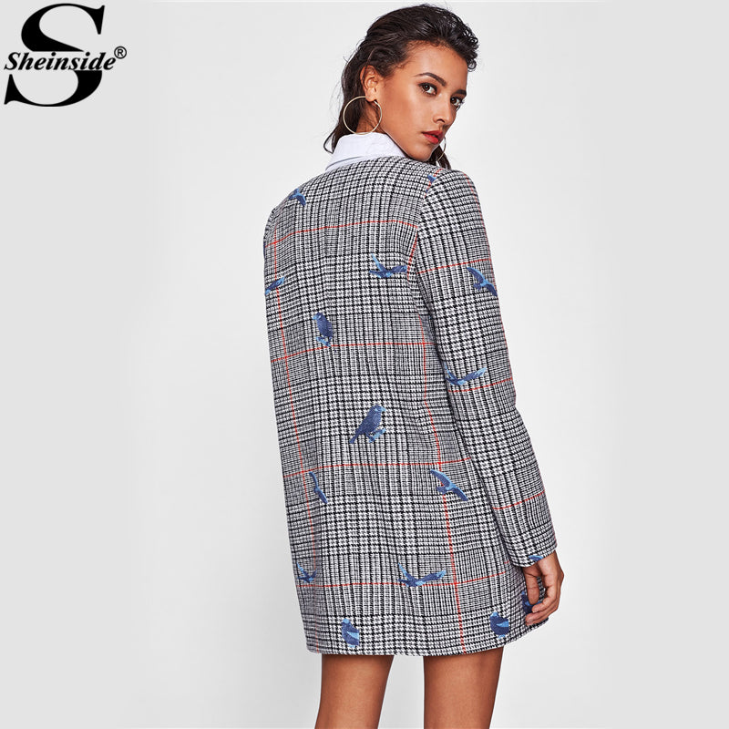 Sheinside Bird Embroidered Hidden Zip Plaid Coat Women Collarless Long Sleeve Casual Outer With Lining Fall Elegant Coat