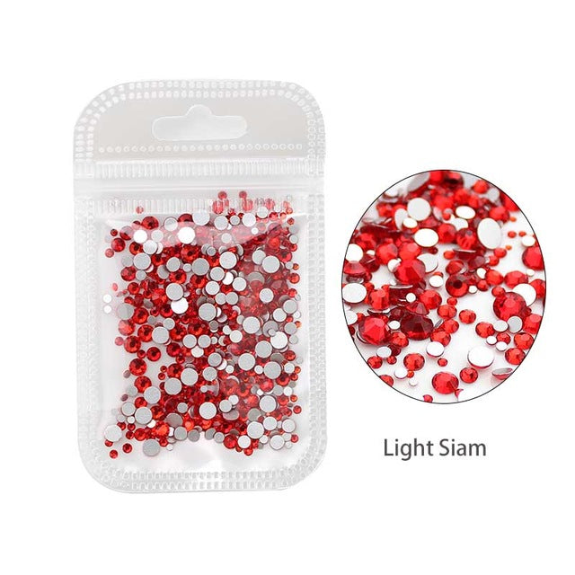 Nail Art Rhinestone 500pcs Mix SS4-SS12 Size Glass Flatback Crystal Non Hotfix Nail Rhinestones For Nails Art 3D Decorations