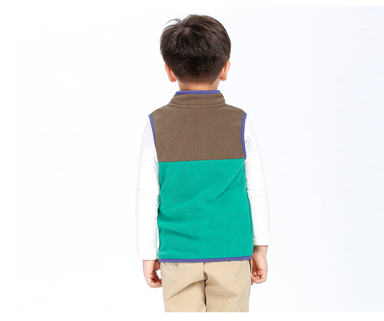 SVELTE for 2-7Y Boys Solid Hit Color Paneled Fleece Sleeveless Vest Waistcoat Woolen Outerwear Jacket Autum Winter Warm Clothing