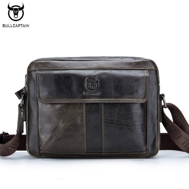 BULLCAPTAIN Genuine Leather Men Bag Casual Business Man Shoulder Crossbody bags Cowhide Large Capacity Travel  Messenger Bags