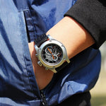 Men's Leather Band Waterproof Chronograph Watch