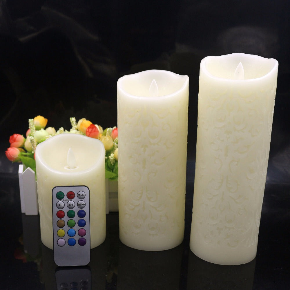 Color Change Gradient LED Candles Remote Control Electronic Flameless Breathing Candle Night Lights Wedding Party Decoration