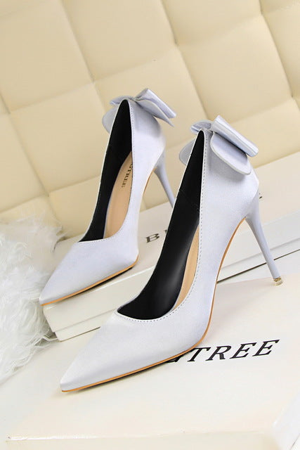 BIGTREE new women Pointed Toe High heel shoes woman shallow butterfly-knot pumps ladies Party Wedding Fashion Silk stilettos