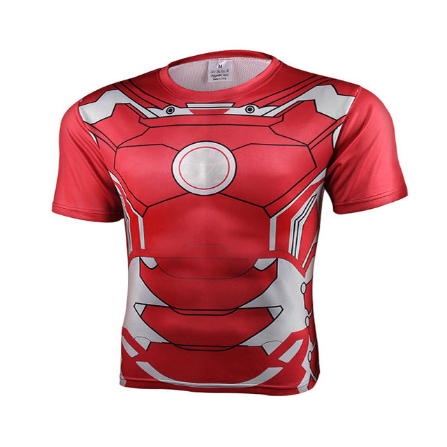 Summer New Marvel Batman Superman Iron Man Captain America Funny Tights Hip hop t shirt  Short Sleeve Men 3 D Print T-Shirts