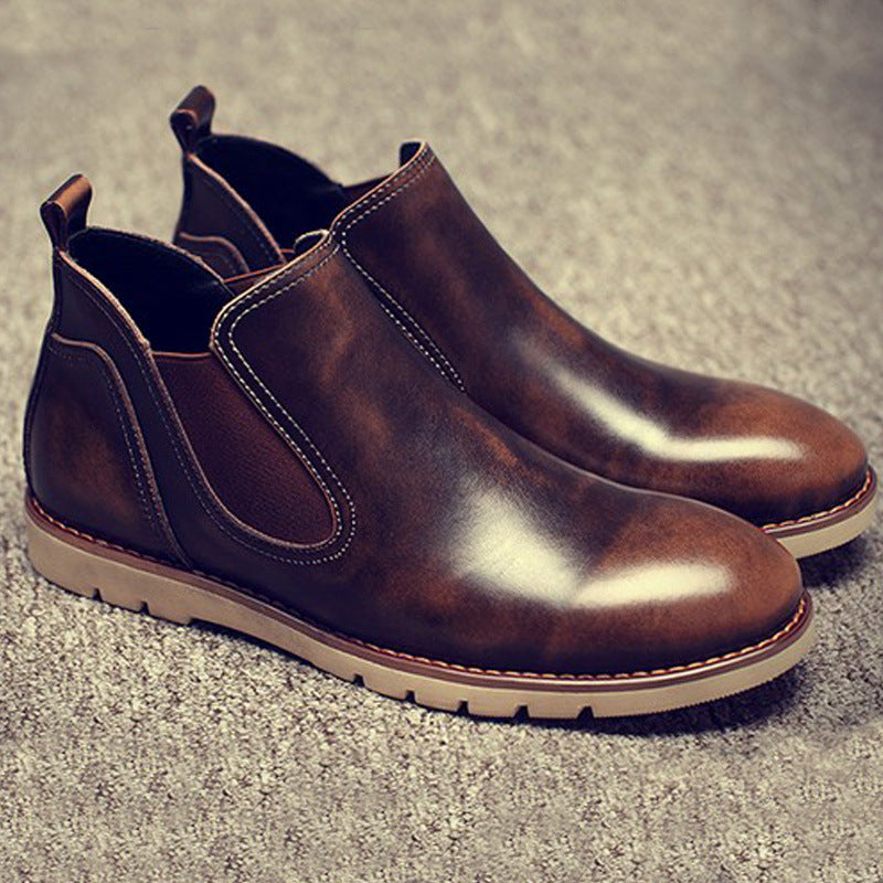 Latest Mens Chelsea Boots Genuine Leather Elastic Band Round Toe Cow Leather Chakku Ankle Dress Wedding Boots